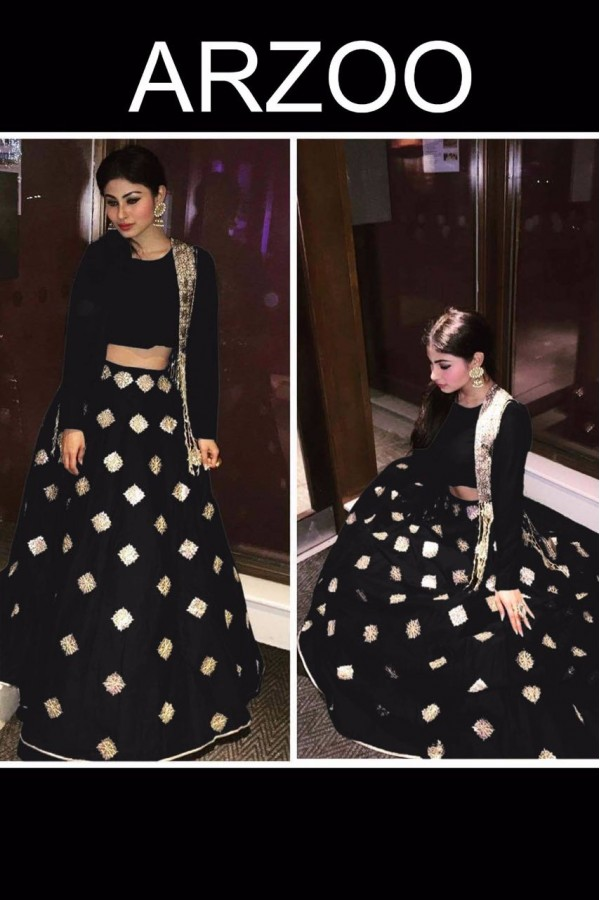 Bollywood Replica - Mouni Roy In Black Silk Lehenga Choli - ARZOO