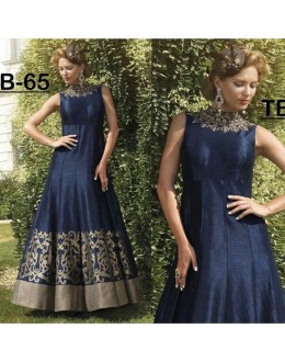Bollywood inspired - Designer Blue Banglori Silk Gown - B-65