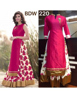Bollywood Replica - Wedding Wear Floral Pink One-Piece Gown - BWD220-2