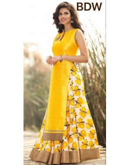 Bollywood Replica - Wedding Wear Floral Yellow One-Piece Gown - BWD220-4