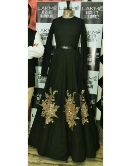 Bollywood inspired - Heavy Embroidered Black Tapeta Silk Gown  - BG