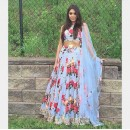 Bollywood Style - Party Wear Blue Floral Lehenga Choli - BL01
