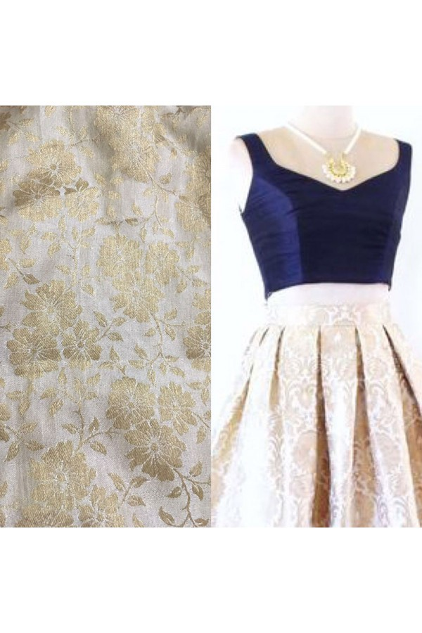 Bollywood Replica - Fancy Cream & Blue Brocade Lehenga Choli - CB