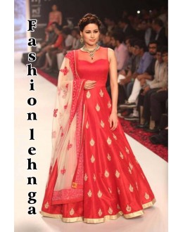 Bollywood Replica - Designer Red Banglori Silk Anarkali Suit - FASHIONLEH