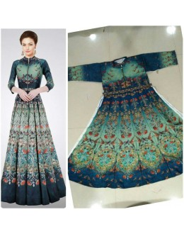 Bollywood Style - Party Wear Multi-Colour Twill Silk Gown - GM04