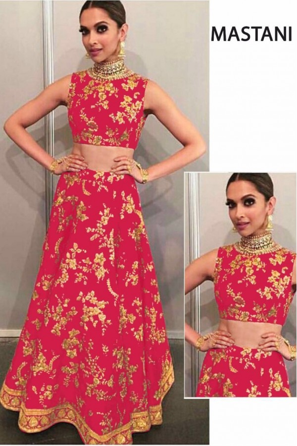 Bollywood Replica - Deepika Padukone In Pink Silk Lehenga Choli -  Mastani01