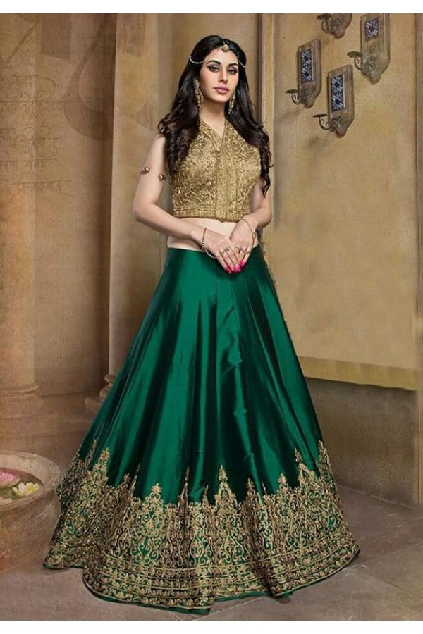 Bollywood Replica - Wedding Wear Green & Golden Lehenga Choli - M04