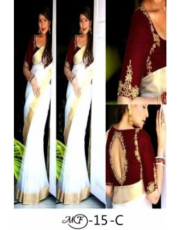 Bollywood Style - Chanderi Cotton Off-White & Maroon Saree -MF-15-C