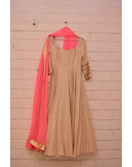 Bollywood Replica - Designer Beige & Pink Pure Georgette Anarkali Suit - Mirza01