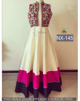 Bollywood inspired - Designer Off-White Banglori Silk Gown  - NX-145