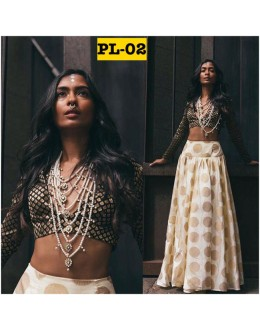 Bollywood Replica - Party Wear Off-White & Black Lehenga Choli  - PL-02