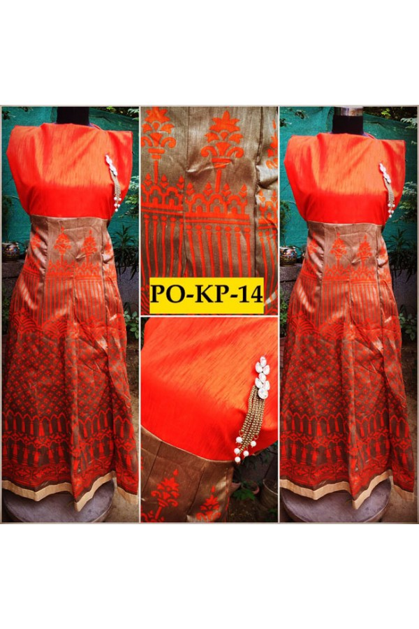 Bollywood Inspired - Designer Digital Printed Beige & Orange Silk Kurti - PO-KP-14