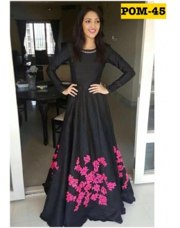 Bollywood Style - Party Wear Black & Pink Gown - POM-45