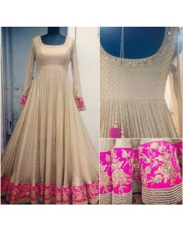 Bollywood Replica - Wedding Wear Cream & Pink Anarkali Suit - PINK BEAUTY-D
