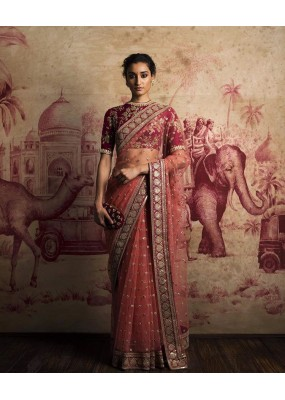 Bollywood Replica - Wedding Wear Red Net Saree - RS-01