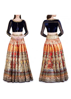 Bollywood Replica -  Party Wear Blue & Multi-Colour Crop Top Lehenga  - S1003