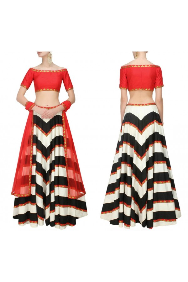 Bollywood Replica - Navratri Special Red & Ivory Embroidered Lehenga Choli - S1018