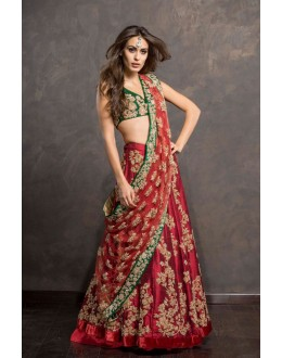Bollywood Replica - Bridal Wear Red & Green Lehnega Choli - S1053