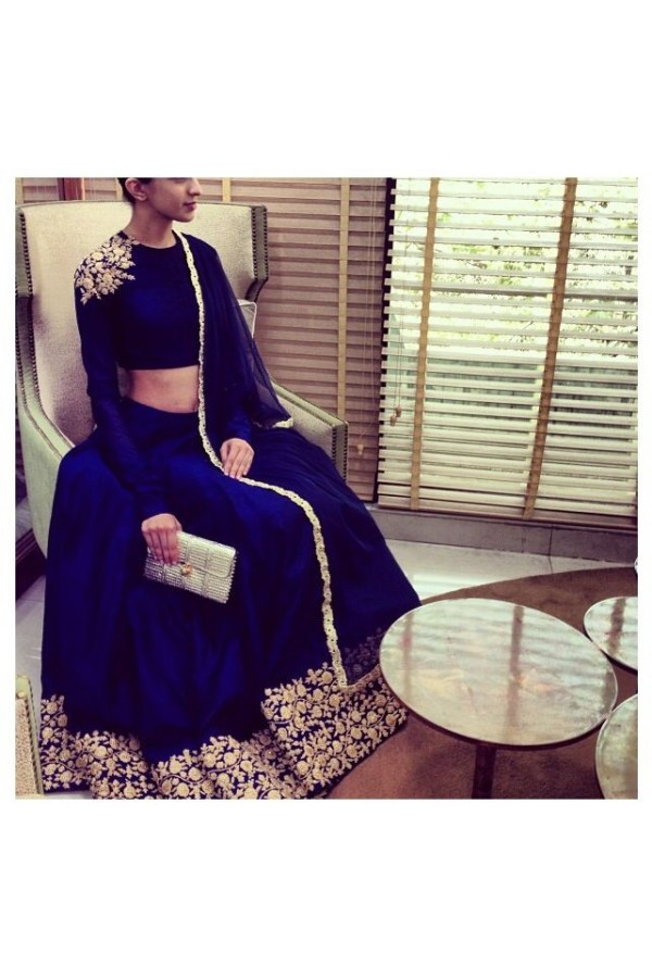 Bollywood Replica -  Designer Navy Blue Raw Silk Premium Lehnega Choli - S142