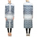 Bollywood Inspired - Ecru Grey & Blue Leaf Illusion Printed Kurti - S390