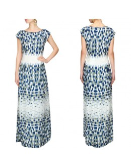 Bollywood Inspired - Ecru Grey & Blue Leaf Illusion Printed Long Dress - S391