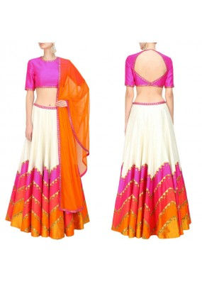 Bollywood Replica - Designer Ivory & Pink Raw Silk Lehenga Choli - S475