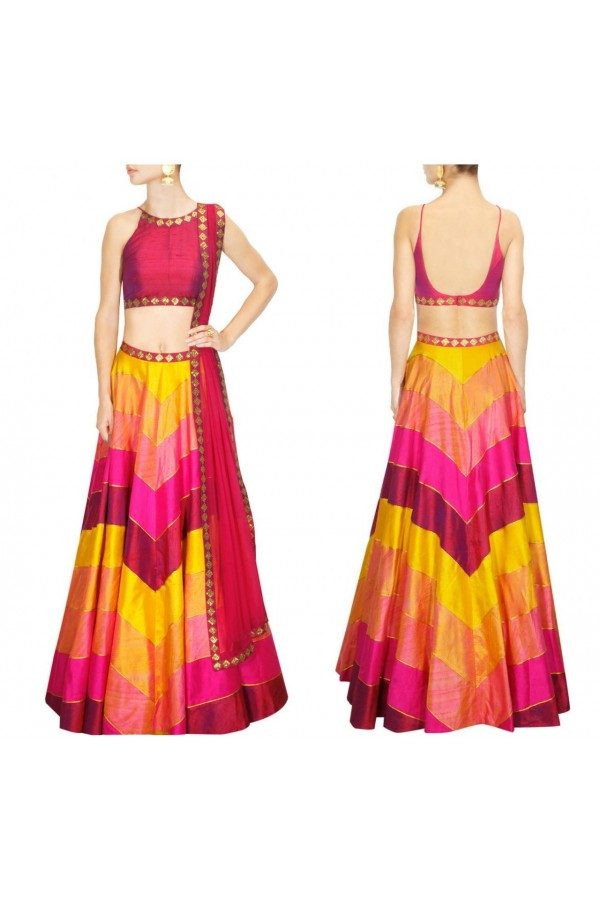 Bollywood Replica - Designer Hot Pink & Yellow Silk Lehenga Choli - S485