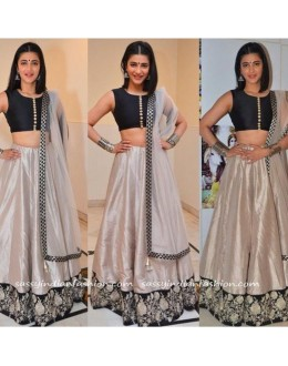 Bollywood Replica - Shruti Hasan In Black Silk Lehenga Choli - SH01