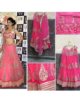 Bollywood Replica -  Wedding Wear Pink Net Lehenga Choli  - SP01