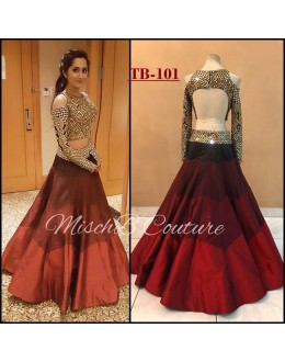 Bollywood Style - Fancy Multi-Colour Raw Silk  Lehenga Choli  -TB-101