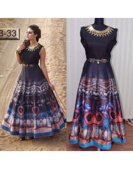 Bollywood Replica - Digital Printed Multi-Coloured Silk Anarkali Gown - TB-33