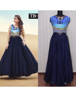 Bollywood Replica - Party Wear Blue Banglori Silk Anarkali Gown - TB-4
