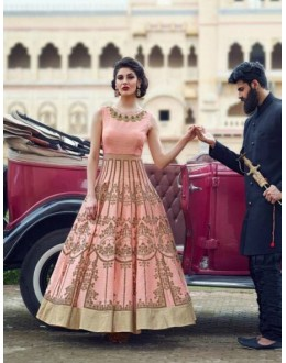 Bollywood Inspired - Party Wear Peach Printed Gown - V1002