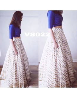 Bollywood Replica - Party Wear Off-White & Blue Crop Top Lehenga - VS022