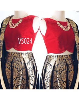 Bollywood Replica - Party Wear Red & Black Lehenga Choli - VS024