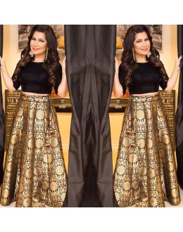 Bollywood Replica - Brocade Pure Silk Black Crop Top Lehenga - VS027