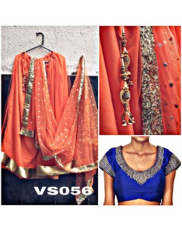 Bollywood Replica - Wedding Wear Orange & Blue Net Lehenga Choli - VS056