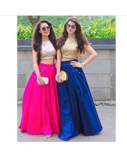 Bollywood Replica - Party Wear Silk Crop Top & Skirt - VS066
