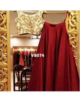 Bollywood Replica - Designer Tafeta Silk Maroon & Cream Lehenga Choli  -  VS074