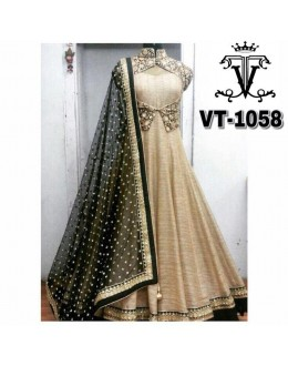 Bollywood Replica - Wedding Wear Beige & Black Anarkali Suit  - VT-1058