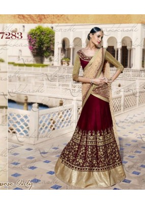 Bollywood Replica - Bridal Maroon Velvet Lehenga Choli -  7283