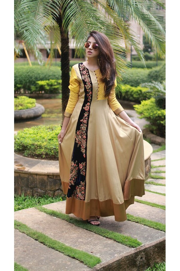 Bollywood Replica - Party Wear Beige & Yellow Silk Kurti  - Ns-L-8