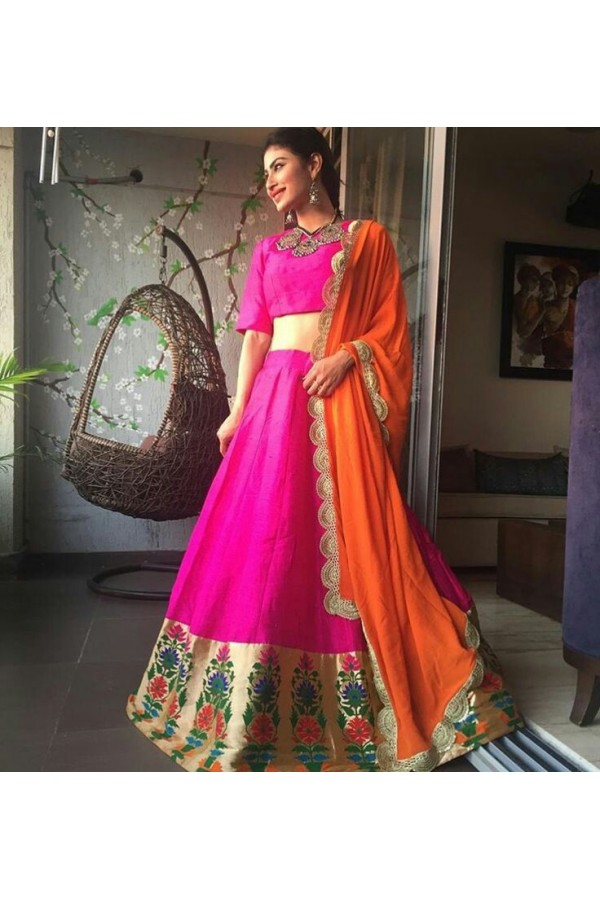 Bollywood Replica - Designer Pink Silk Lehenga Choli - PL-01