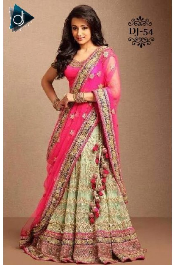 Bollywood Replica - Bridal Pink & Green Net Lehenga Choli - DJ-54