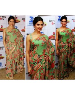 Bollywood Replica - Deepika Padukone Designer Green Georgette  Saree - D20