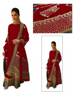 Bollywood Replica - Deepika Padukone Designer Red Georgette  Anarkali Suit - D03