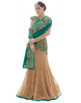 Bollywood Replica - Designer Beige & Deep Green Lehenga Saree - 3820