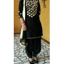 Bollywood Replica- Designer Black Cotton Mirror Work Patiala Salwar Suit - CM02