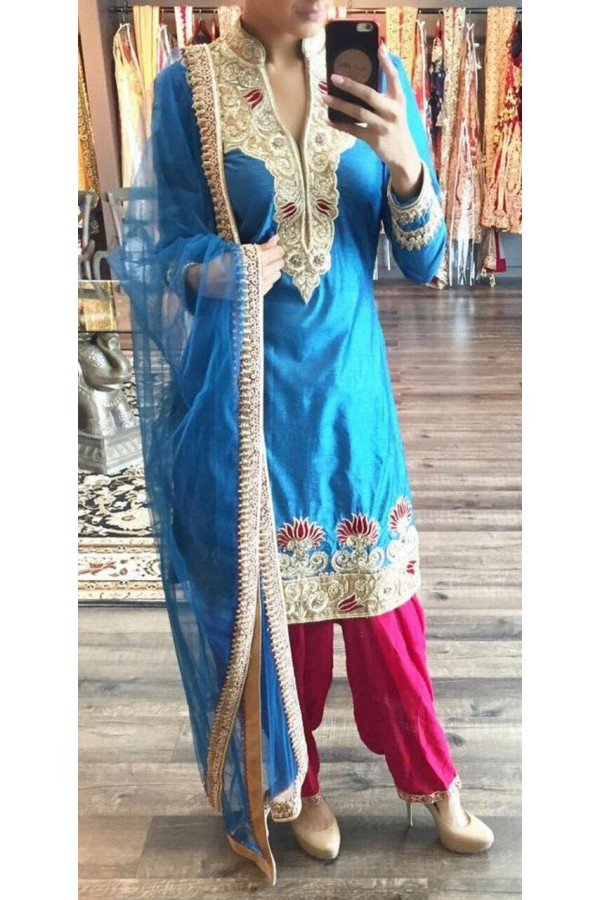 Bollywood Replica - Designer Blue Embroidered Cotton Patiala Suit - CQ1