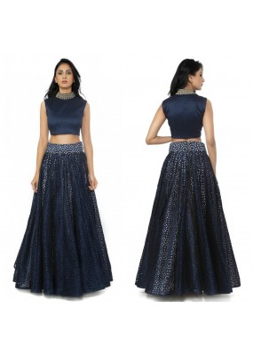 Bollywood Replica - Designer Blue Raw Silk Cop Top Lehenga  - S319